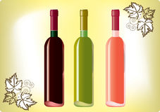 Red, white, rose wines. Set of red, white and rose wine bottles on the old papper Royalty Free Stock Images