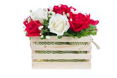 Red and white rose in a wooden basket with beautiful ribbon, gif. T for valentine's day, isolated on white background stock photo