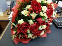 Red and white roses in beautiful bouqette Royalty Free Stock Image