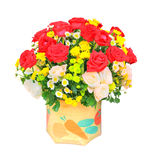 Red and white roses flowers bouquet and yellow tulip in bucket i Royalty Free Stock Image