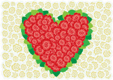 Red and white roses heart Stock Photo