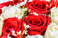 Red And White Roses Wedding Bouquet. Red And White Roses Wedding Flowers Bouquet Royalty Free Stock Photography
