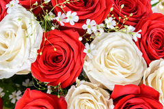 Red And White Roses Wedding Bouquet. Red And White Roses Wedding Flowers Bouquet Stock Photos