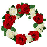 Red and white roses wreath Stock Photo