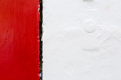 Red White Rough Paint on the Wall Stock Photos
