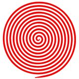 Red and white round abstract vortex hypnotic spiral. Vector illustration optical illusion helix anaglyph opt art illustration. Volute, maze, concentric lines stock illustration