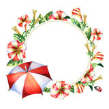 Red and white round lable with flowers and umbrella. Watercolor background. Red and white round lable with flowers and umbrella. Watercolor hand-drawn background Royalty Free Stock Photo