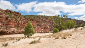 Red and White Sandstone Cliffs Stock Photo
