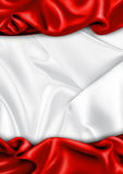 Red and white satin fabric background Stock Photo