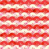Red and white scales watercolor background. Seamless pattern good for web pages or as wallpaper vector illustration