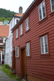 Red and white scandinavian houses in norway Stock Image
