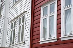 Red and white scandinavian houses in norway Royalty Free Stock Photography
