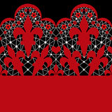 Red and white seamless lace pattern on black Royalty Free Stock Photo