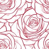 Red and white seamless pattern in roses Stock Photo