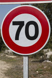 Red and White Seventy Speed Limit. Sign Royalty Free Stock Images