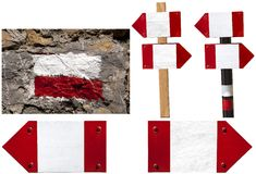 Red and white signposts Royalty Free Stock Photo