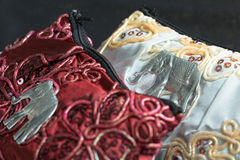 Red and White Silk Purses Stock Image
