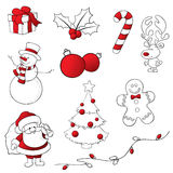 Red and White Sketchy Christmas Icons Stock Photography
