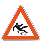 Red white slippery warning sign. Red white colored warning sign because of slip danger which is also as vector file available. Size and colors can be changed Stock Photography