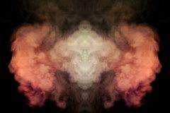 Red and white smoke creating an illusion of movement and a strangely mystical creature illuminated with light on a black isolated vector illustration