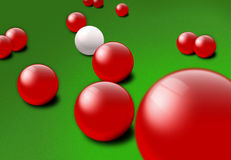 Red and white Snooker balls. An illustration of red and white snooker balls on a billiards table stock illustration