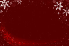 Red and White Snowflake Abstract Background with Falling Snow Stock Images