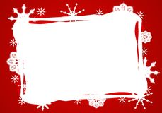 Red White Snowflake Border. A background illustration featuring a red and white snowflake frame, background or border Stock Images