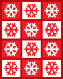 Red and white snowflakes Stock Images