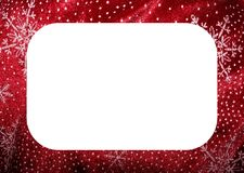 Red white snowflakes christmas frame. A red and white snowflakes patterns frame for christmas Royalty Free Stock Images