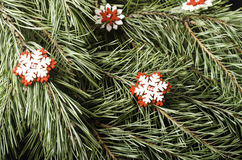 Red with white snowflakes close-up. stock images