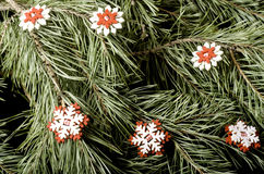 Red with white snowflakes close-up. stock photography