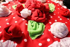 Red and white soft flowers of cloth stock photography