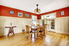 Red and white spacious dining room Stock Photography