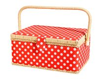 Red and white speckles dotted basket Royalty Free Stock Photography