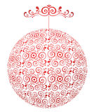 Red-white sphere with ornament Stock Image