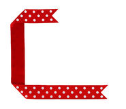 Red white spotty ribbon frame background Royalty Free Stock Photography