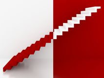 Red and white stairs in interior, 3d Stock Photos