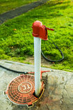 Red and white standpipe Stock Photo