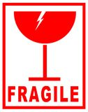 Fragile sticker for packaging stock photo