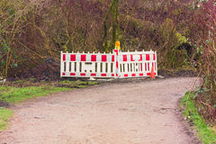 Red and White Street Barricade. Royalty Free Stock Images