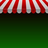 Red and White Strip Shop Awning with Space for Text.Vector. Illustration Stock Image