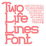 Red white strip uppercase and lowercase letters and numbers. Two life lines font. Isolated english alphabet with figures Stock Photo