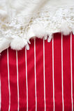Red and White Stripe Background Decorated with White Fabric Royalty Free Stock Photography