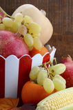 Red and white stripe bowl with Autumn Harvest Royalty Free Stock Photo