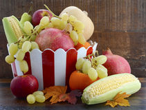 Red and white stripe bowl with Autumn Harvest Royalty Free Stock Photos