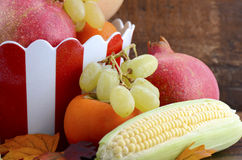 Red and white stripe bowl with Autumn Harvest Stock Photo