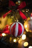 Red and White Stripe Christmas Bauble Hanging on Christmas Tree stock images