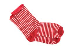 Red and white stripe socks on white background. Pair of Red and white stripe socks on white background stock image