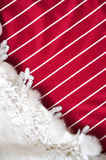 Red and White Stripe with White Scarf Background Stock Photo