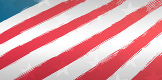 Red and white striped of American flag. Against starry background Stock Photography